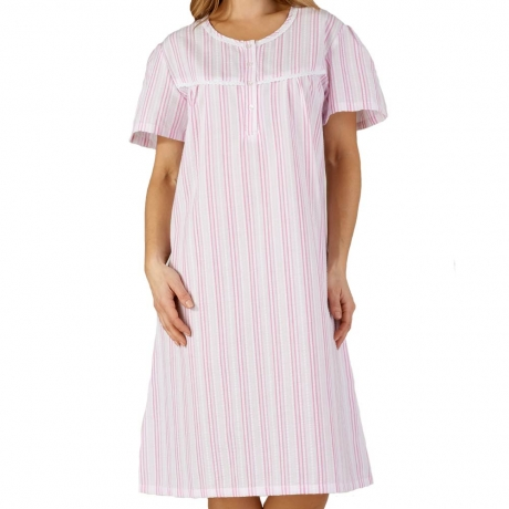 Seersucker Short Sleeve Buttoned Top Nightdress