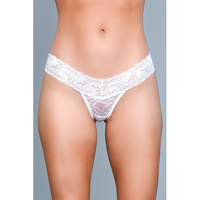 V-Cut Lace Panties - White - Small