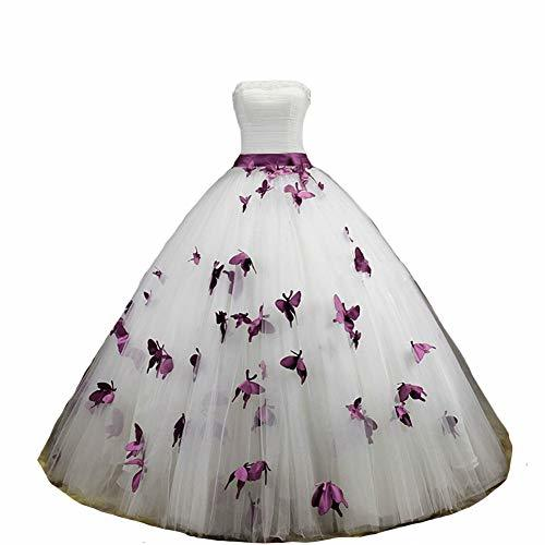 Ball Gown Butterfly Pearl Long Prom Formal Wedding Dress 8 White and Dark Plum