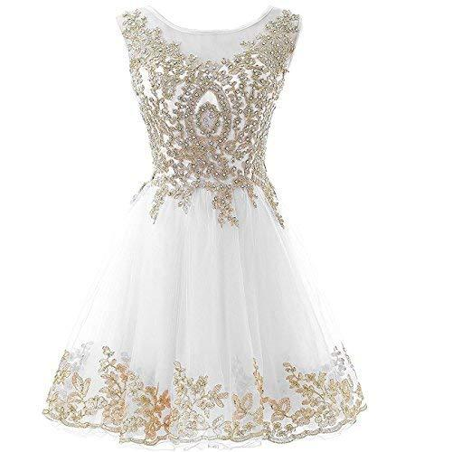 Gold Lace Beaded Short Bateau Prom Dress Homecoming Cocktail Gowns Little White