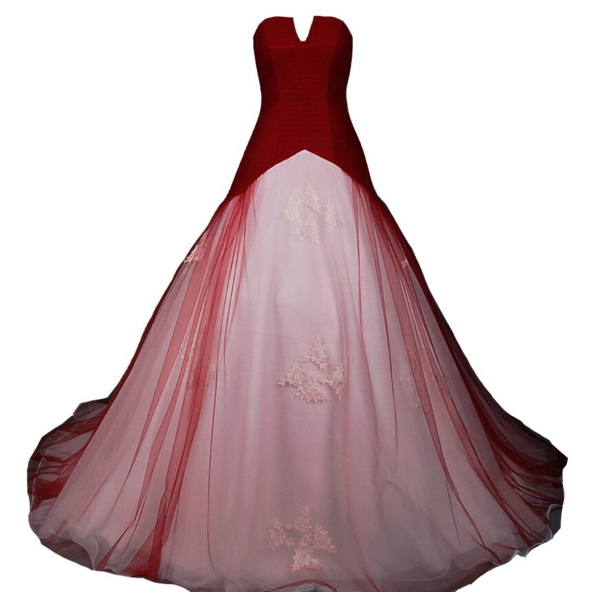Kivary White and Wine Red Tulle Simple Corset Bridal Wedding Dresses US 14