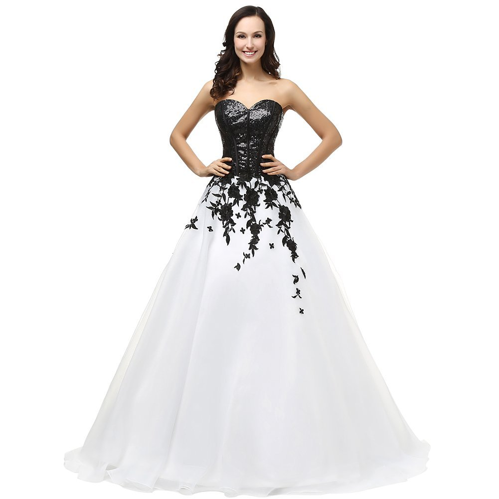 Kivary Women's Sweetheart Black Sequined White Organza Lace Corset Prom Evening