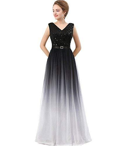 Long Sequined Chiffon A Line Corset Prom Evening Dresses Black and White US 8