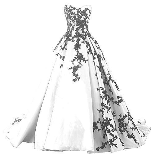 Plus Size Satin Gothic Black Lace Long Ball Gown Prom Evening Dress White US 16W