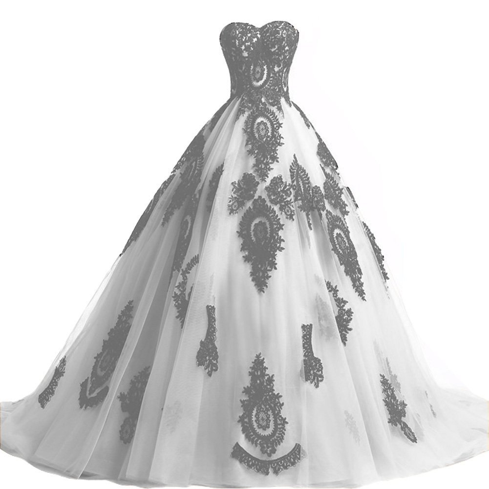 Plus Size White and Black Lace Long Gothic Wedding Dress Corset Prom Evening Gow
