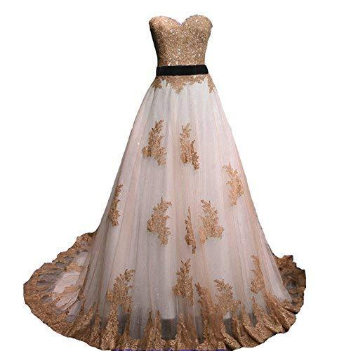 Vintage Brown Lace Long A Line Sweetheart White Prom Dress Wedding Gown US 4