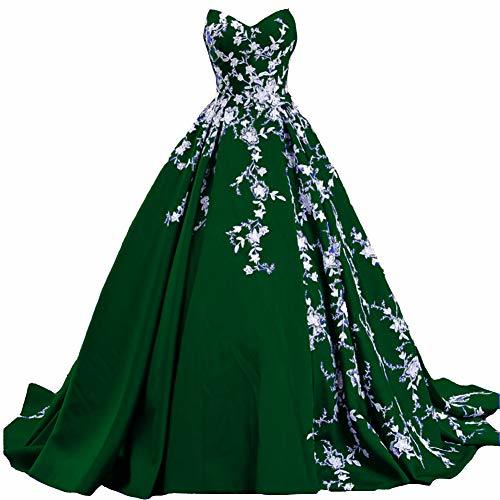 White Lace Long Ball Gown Formal Prom Evening Dresses Gothic Emerald Green US 8